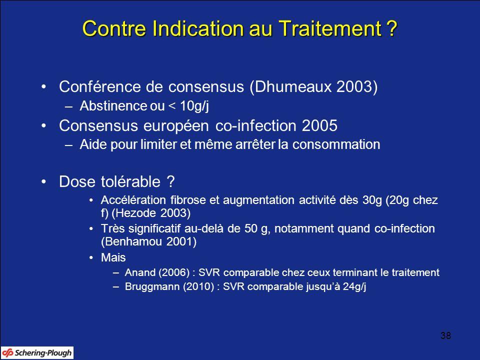 38 Contre Indication au Traitement ? Conférence de consensus (Dhumeaux 2003) –Abstinence ou < 10g/j Consensus européen co-infection 2005 –Aide pour li