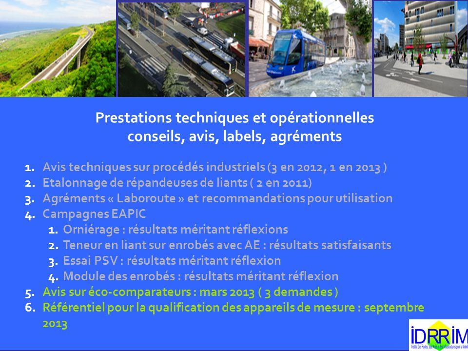 Prestations techniques et opérationnelles conseils, avis, labels, agréments 1.Avis techniques sur procédés industriels (3 en 2012, 1 en 2013 ) 2.Etalo