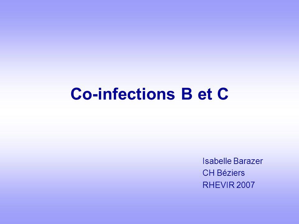 Co-infections B et C - Formes cliniques Différents scénarios dinfections Chronologie souvent difficile à connaître Zones de forte endémie B transmission B « verticale » Surinfection C