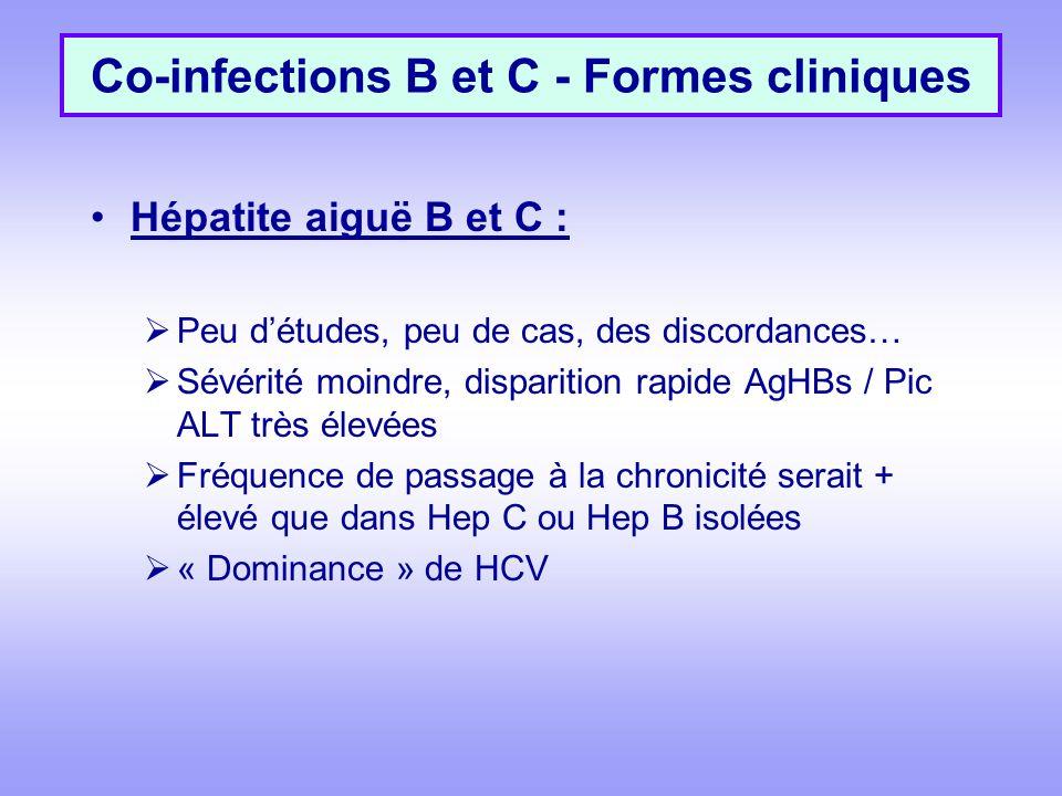 Co-infections B et C - Formes cliniques Hépatite aiguë B et C : Peu détudes, peu de cas, des discordances… Sévérité moindre, disparition rapide AgHBs / Pic ALT très élevées Fréquence de passage à la chronicité serait + élevé que dans Hep C ou Hep B isolées « Dominance » de HCV