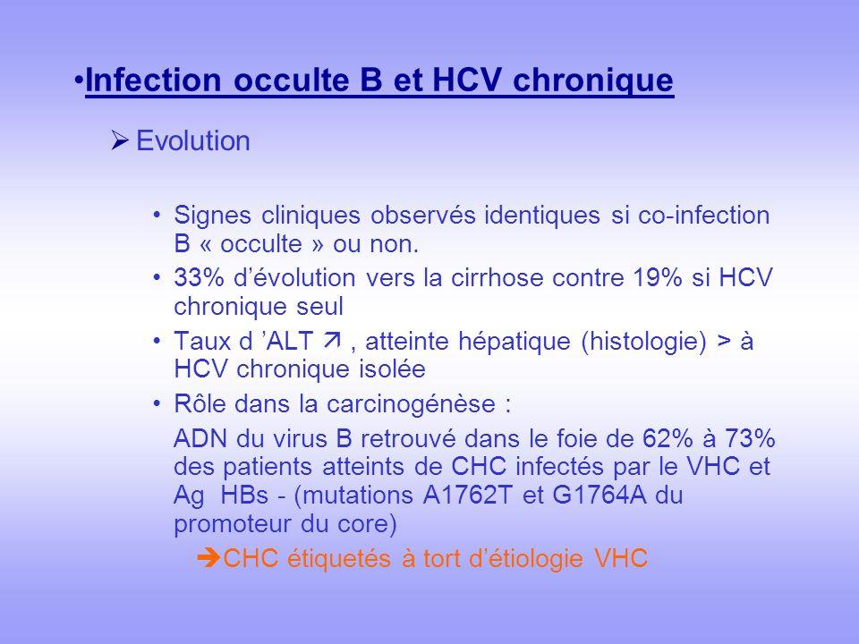 Infection occulte B et HCV chronique Evolution Signes cliniques observés identiques si co-infection B « occulte » ou non. 33% dévolution vers la cirrh