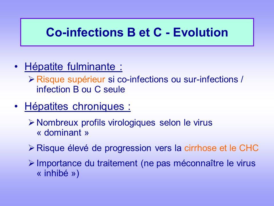 Co-infections B et C - Evolution Hépatite fulminante : Risque supérieur si co-infections ou sur-infections / infection B ou C seule Hépatites chroniques : Nombreux profils virologiques selon le virus « dominant » Risque élevé de progression vers la cirrhose et le CHC Importance du traitement (ne pas méconnaître le virus « inhibé »)