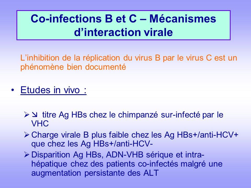Linhibition de la réplication du virus B par le virus C est un phénomène bien documenté Etudes in vivo : titre Ag HBs chez le chimpanzé sur-infecté par le VHC Charge virale B plus faible chez les Ag HBs+/anti-HCV+ que chez les Ag HBs+/anti-HCV- Disparition Ag HBs, ADN-VHB sérique et intra- hépatique chez des patients co-infectés malgré une augmentation persistante des ALT Co-infections B et C – Mécanismes dinteraction virale