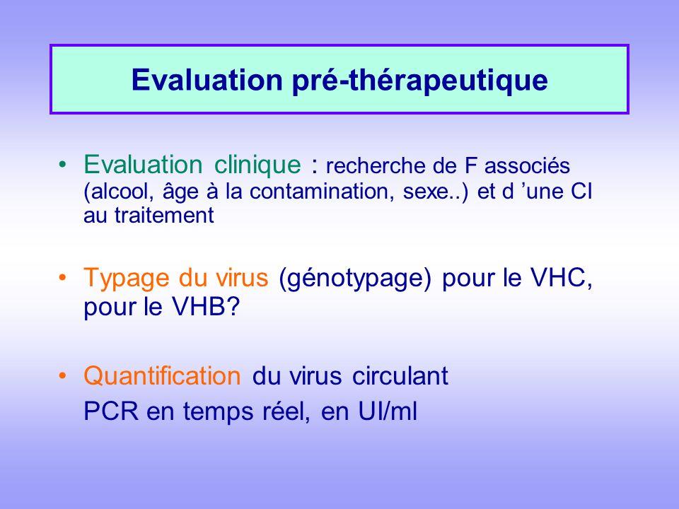 Evaluation pré-thérapeutique Evaluation clinique : recherche de F associés (alcool, âge à la contamination, sexe..) et d une CI au traitement Typage d