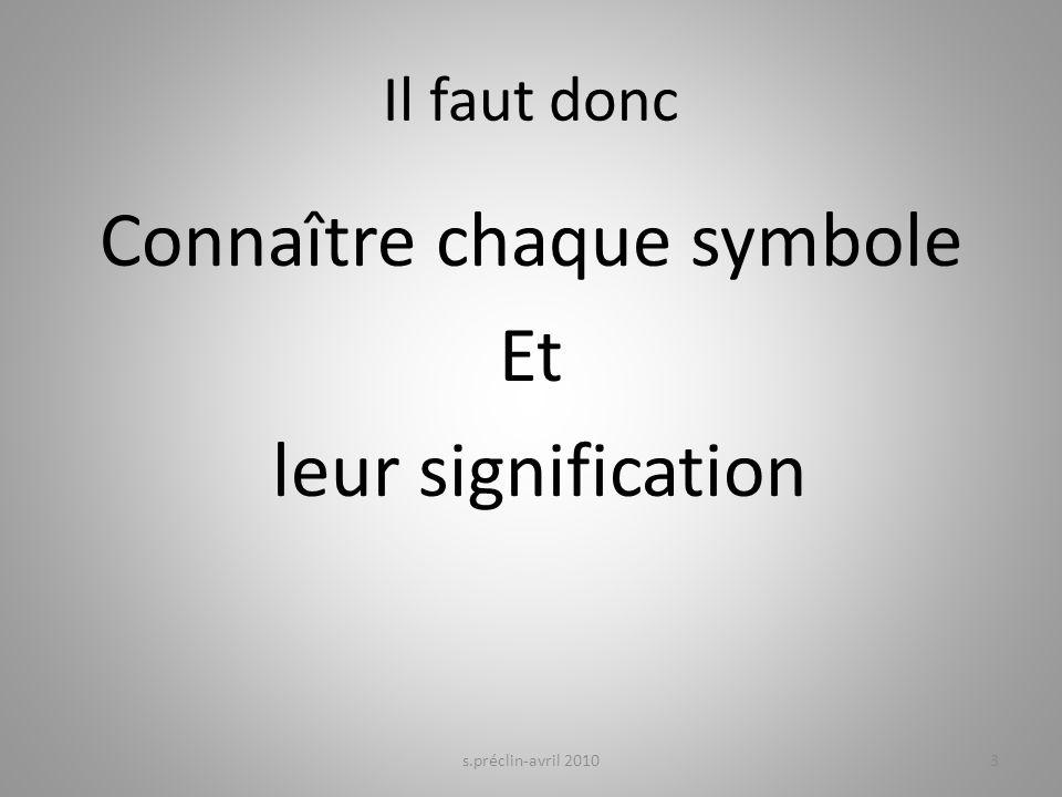 Il faut donc Connaître chaque symbole Et leur signification s.préclin-avril 20103