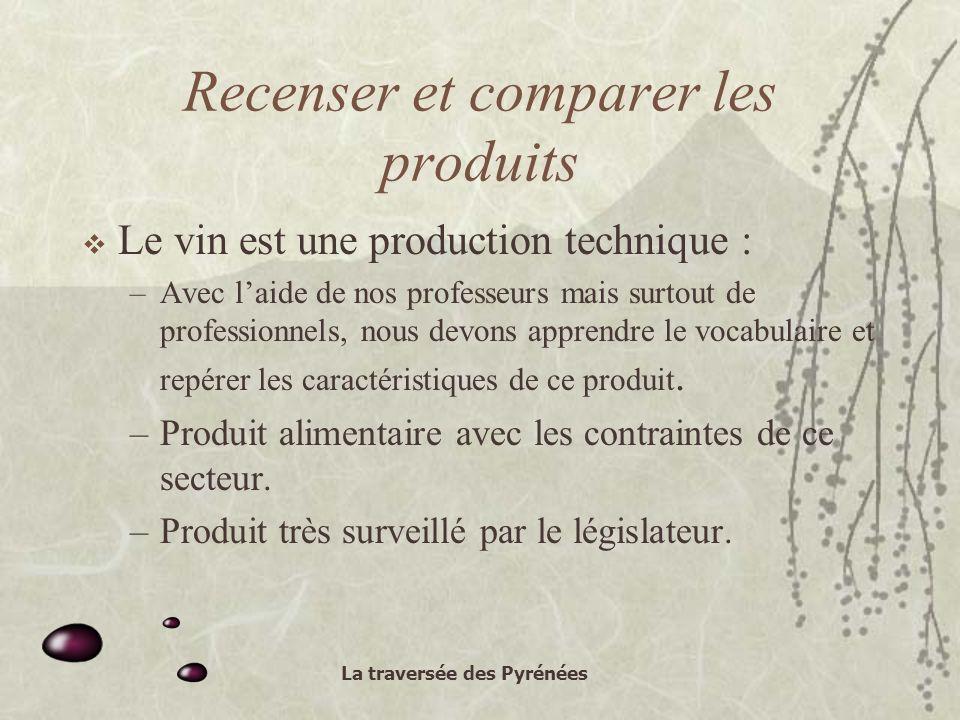 La traversée des Pyrénées Recenser et comparer les produits Le vin est une production technique : –Avec laide de nos professeurs mais surtout de professionnels, nous devons apprendre le vocabulaire et repérer les caractéristiques de ce produit.