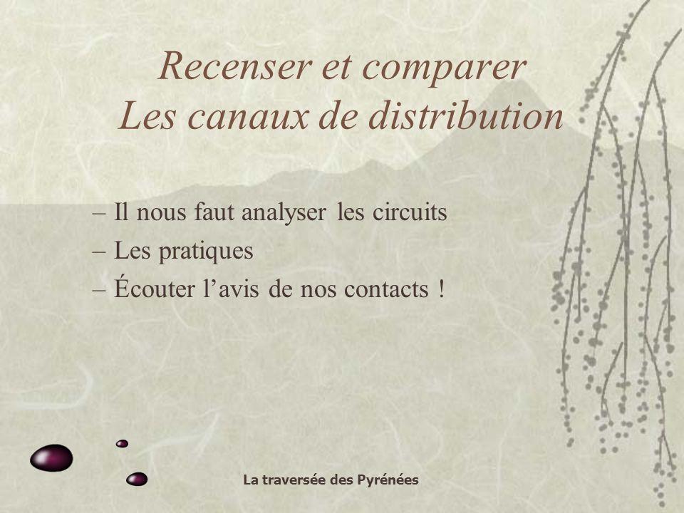 La traversée des Pyrénées Recenser et comparer Les canaux de distribution –Il nous faut analyser les circuits –Les pratiques –Écouter lavis de nos contacts !