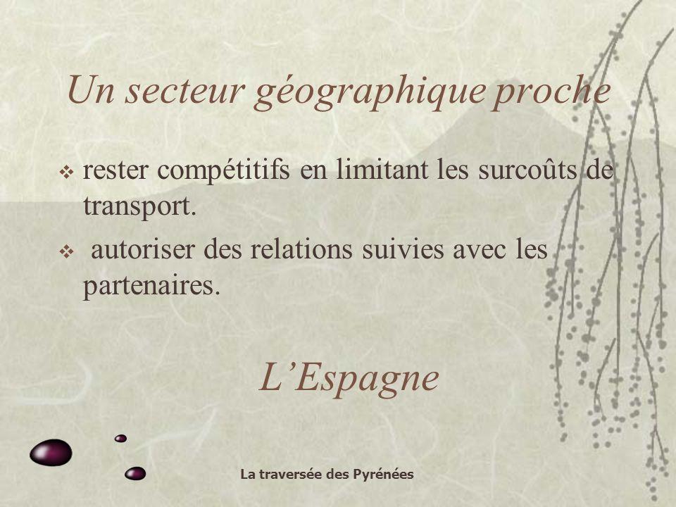 La traversée des Pyrénées Un secteur géographique proche rester compétitifs en limitant les surcoûts de transport.