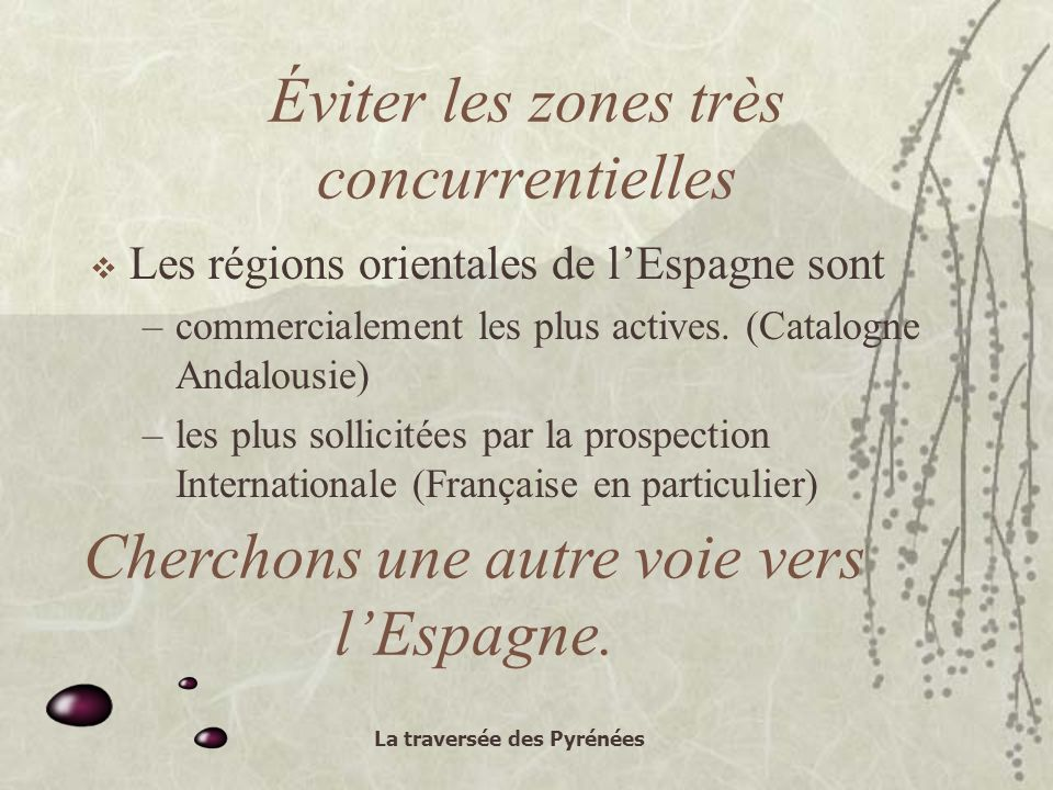 La traversée des Pyrénées Éviter les zones très concurrentielles Les régions orientales de lEspagne sont –commercialement les plus actives.