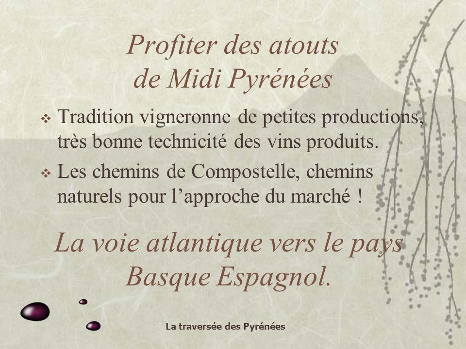 La traversée des Pyrénées Profiter des atouts de Midi Pyrénées Tradition vigneronne de petites productions, très bonne technicité des vins produits.