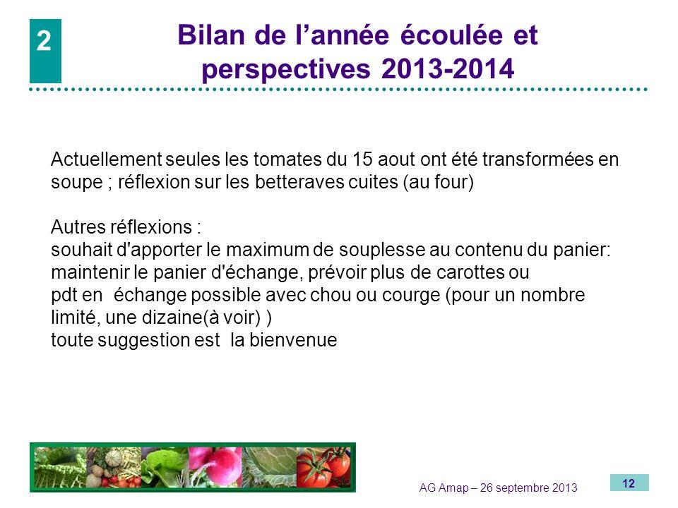 12 AG Amap – 26 septembre 2013 2 Bilan de lannée écoulée et perspectives 2013-2014 2 Actuellement seules les tomates du 15 aout ont été transformées e