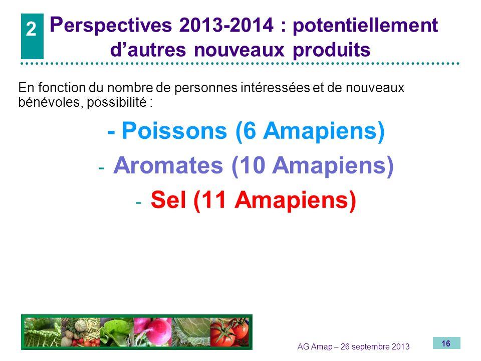 16 AG Amap – 26 septembre 2013 P erspectives 2013-2014 : potentiellement dautres nouveaux produits En fonction du nombre de personnes intéressées et d