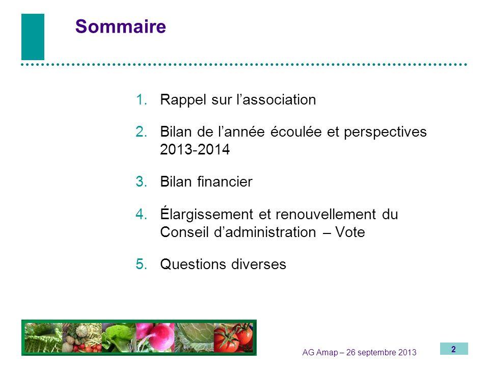 2 AG Amap – 26 septembre 2013 Sommaire 1.Rappel sur lassociation 2. Bilan de lannée écoulée et perspectives 2013-2014 3.Bilan financier 4.Élargissemen