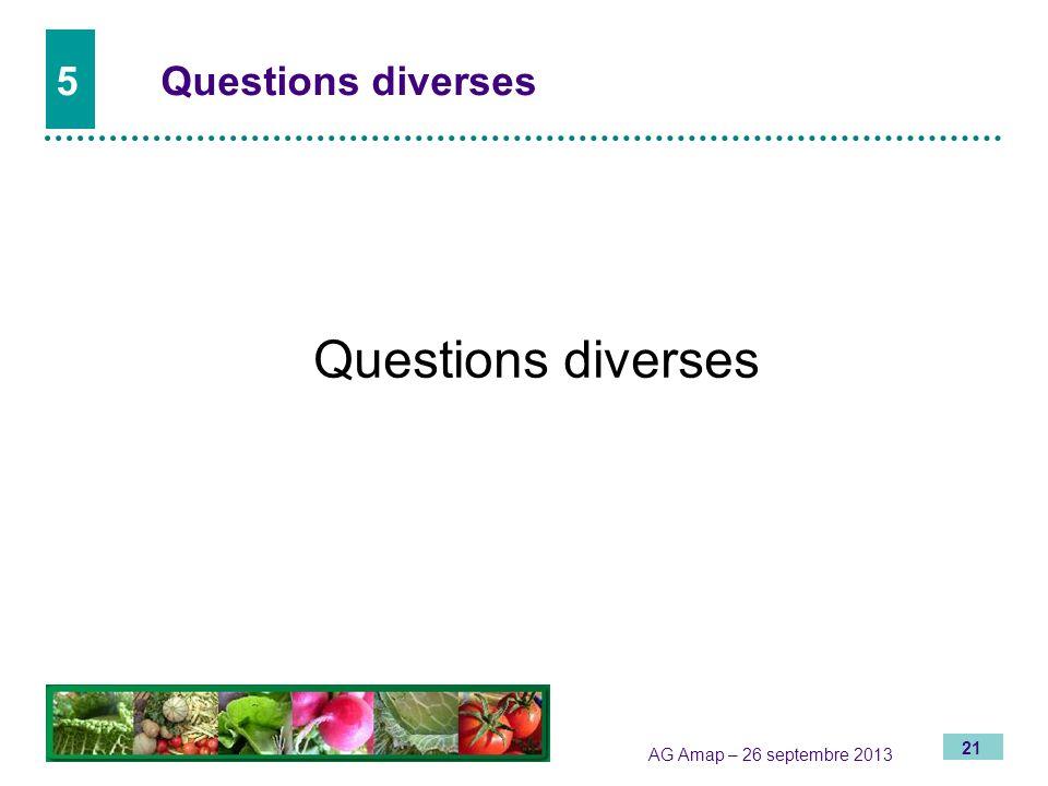 21 AG Amap – 26 septembre 2013 5Questions diverses Questions diverses
