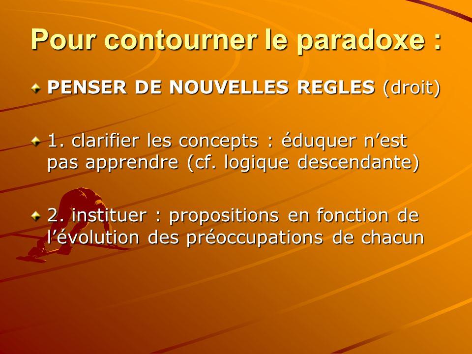 Pour contourner le paradoxe : PENSER DE NOUVELLES REGLES (droit) 1.