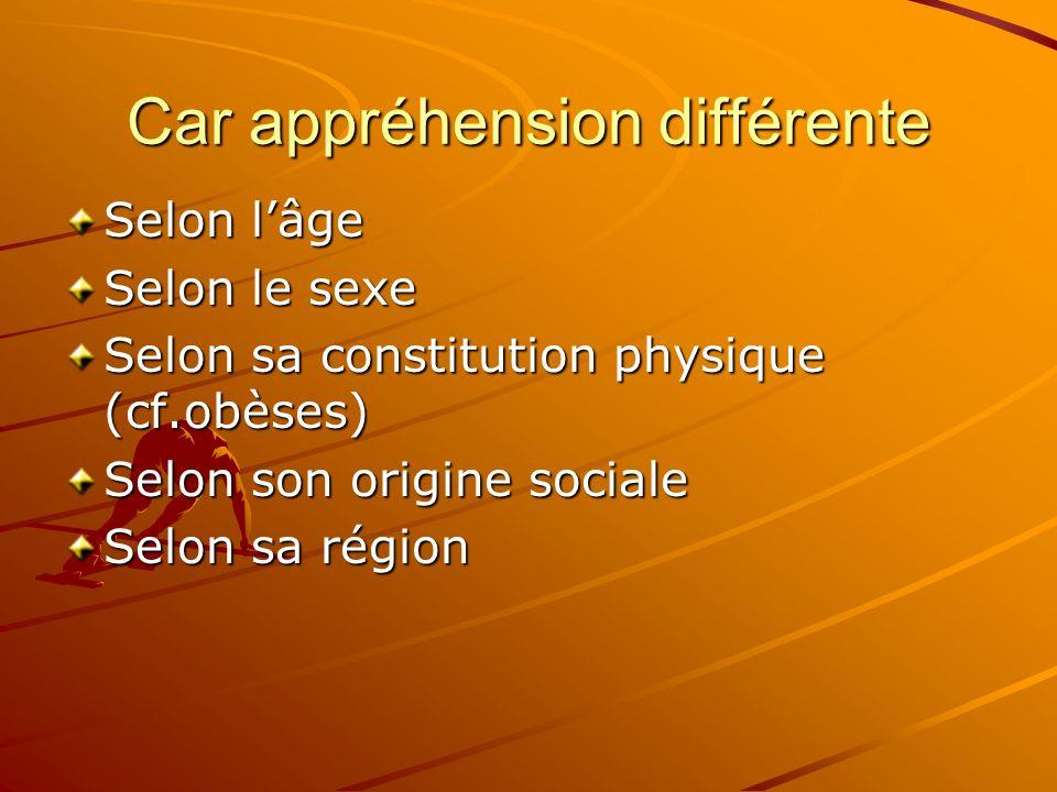Car appréhension différente Selon lâge Selon le sexe Selon sa constitution physique (cf.obèses) Selon son origine sociale Selon sa région