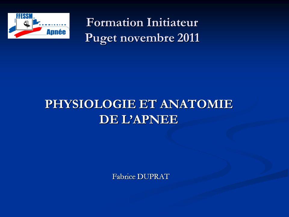 Formation Initiateur Puget novembre 2011 Fabrice DUPRAT PHYSIOLOGIE ET ANATOMIE DE LAPNEE
