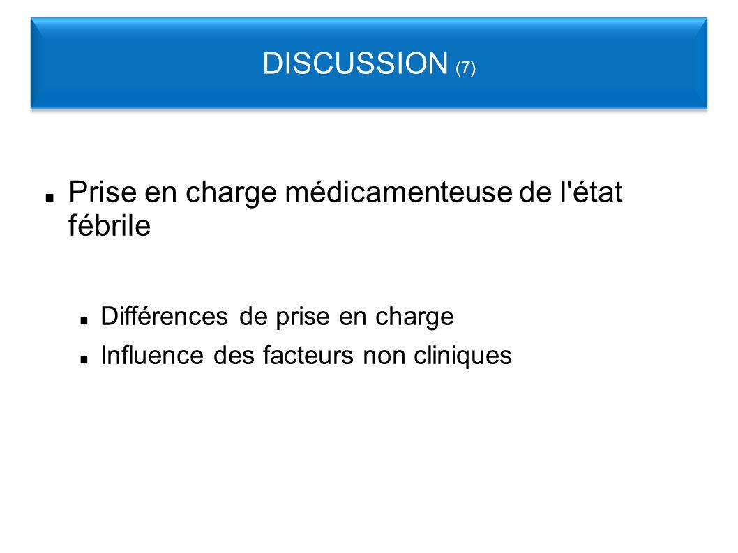 Prise en charge médicamenteuse de l état fébrile Différences de prise en charge Influence des facteurs non cliniques DISCUSSION (7)