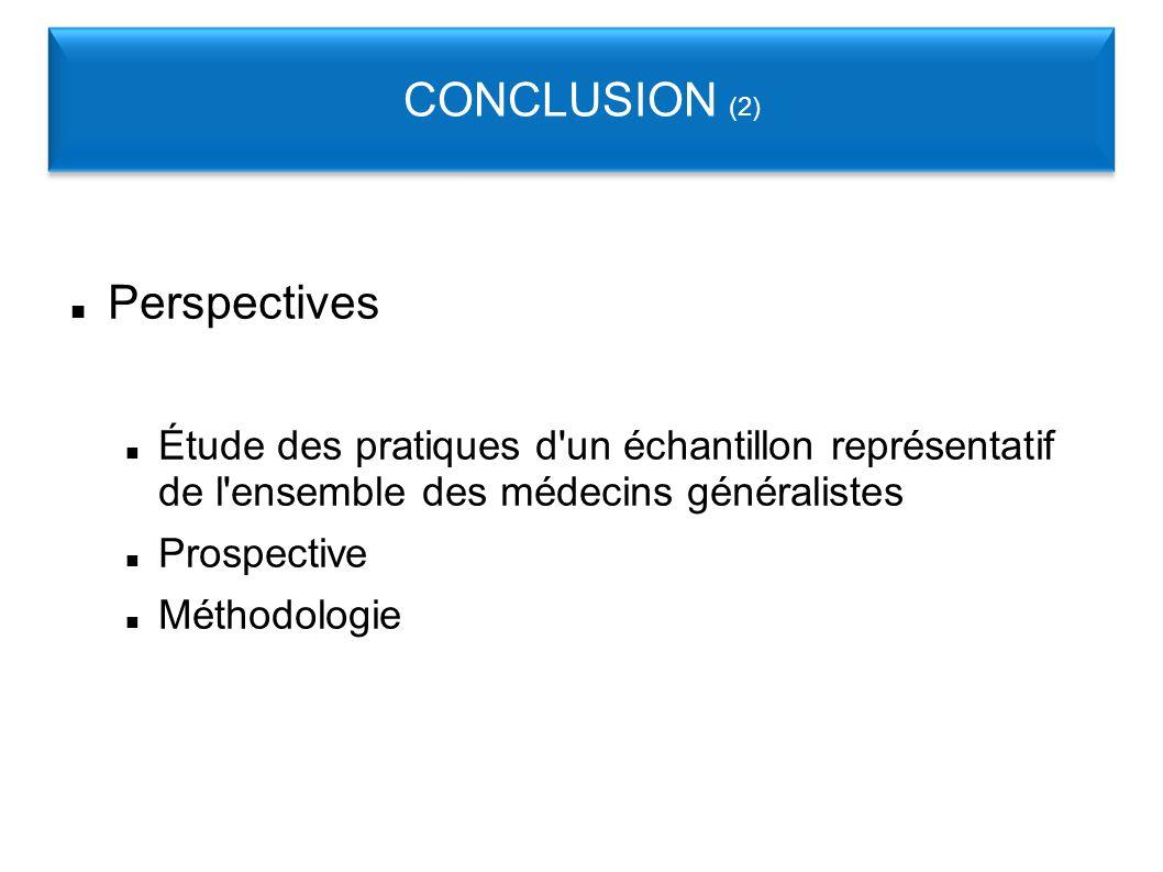 Perspectives Étude des pratiques d un échantillon représentatif de l ensemble des médecins généralistes Prospective Méthodologie CONCLUSION (2)