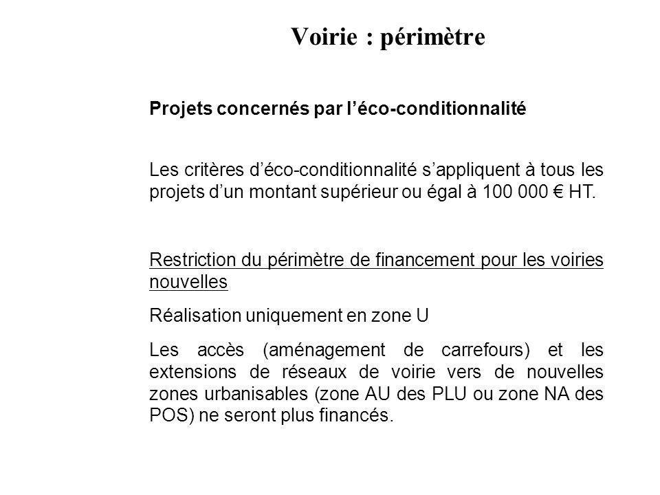 Voirie : périmètre Projets concernés par léco-conditionnalité Les critères déco-conditionnalité sappliquent à tous les projets dun montant supérieur ou égal à 100 000 HT.