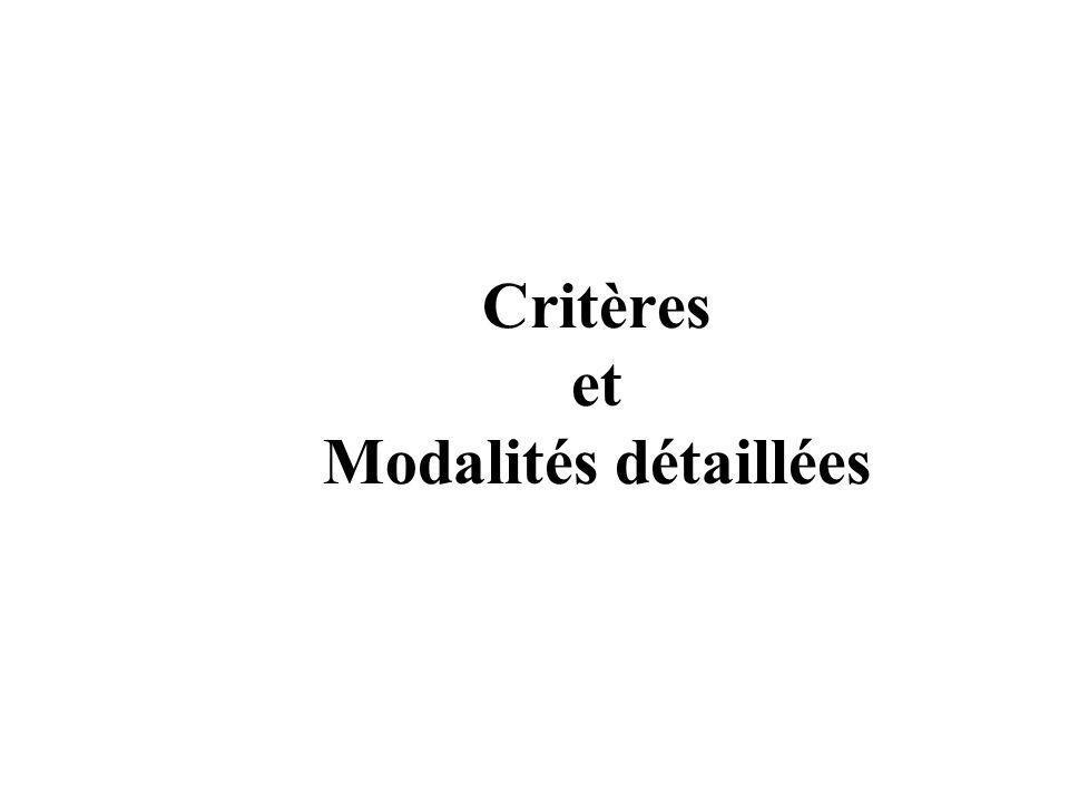 Critères et Modalités détaillées