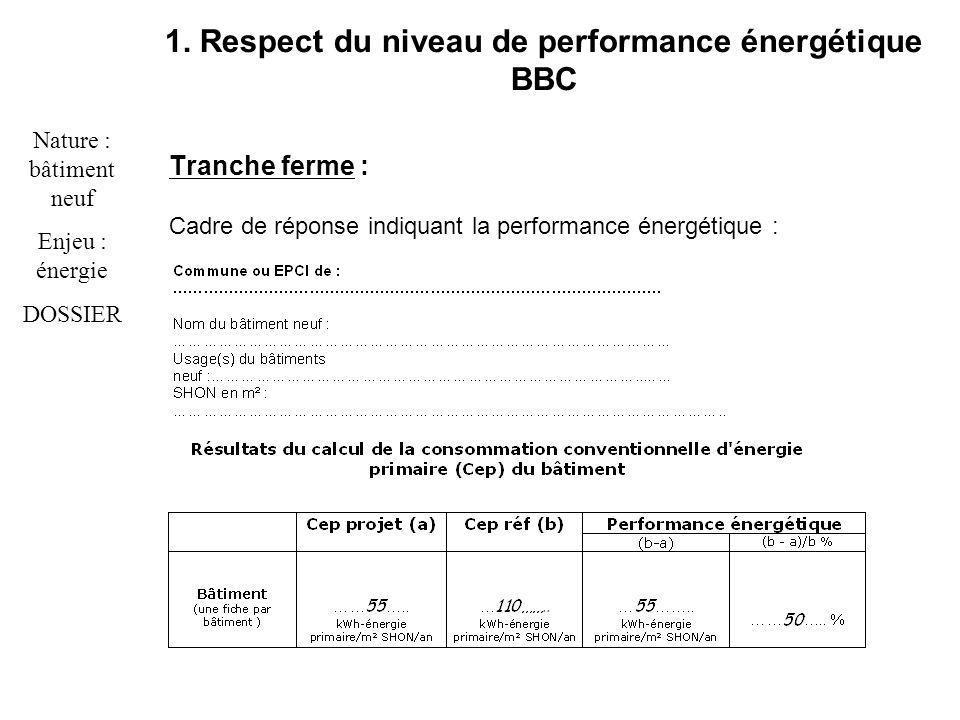 Tranche ferme : Cadre de réponse indiquant la performance énergétique : Nature : bâtiment neuf Enjeu : énergie DOSSIER 1.