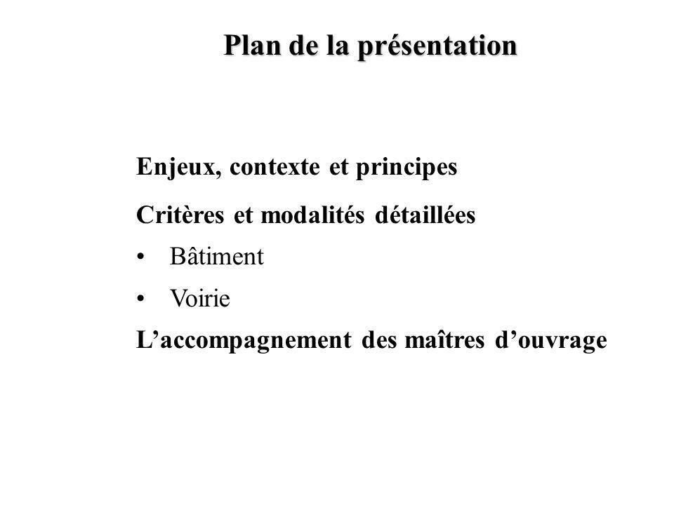Plan de la présentation Enjeux, contexte et principes Critères et modalités détaillées Bâtiment Voirie Laccompagnement des maîtres douvrage