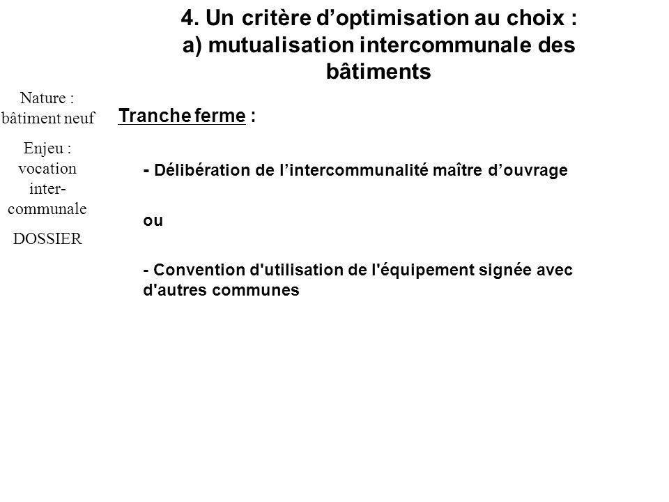 Tranche ferme : - Délibération de lintercommunalité maître douvrage ou - Convention d utilisation de l équipement signée avec d autres communes 4.