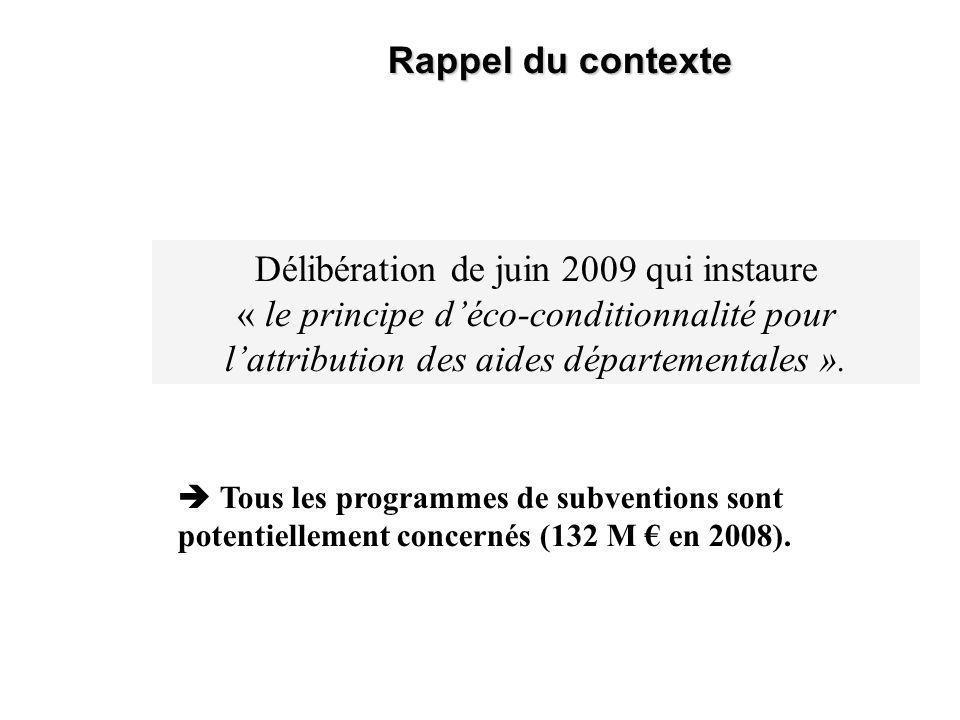Rappel du contexte Délibération de juin 2009 qui instaure « le principe déco-conditionnalité pour lattribution des aides départementales ».