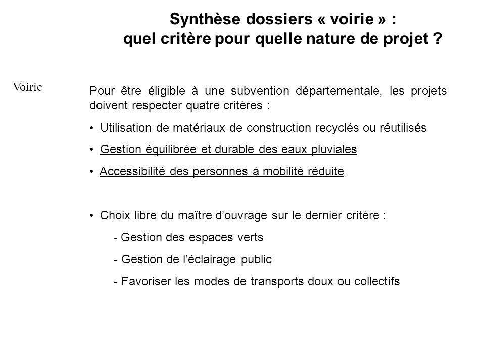 Synthèse dossiers « voirie » : quel critère pour quelle nature de projet .