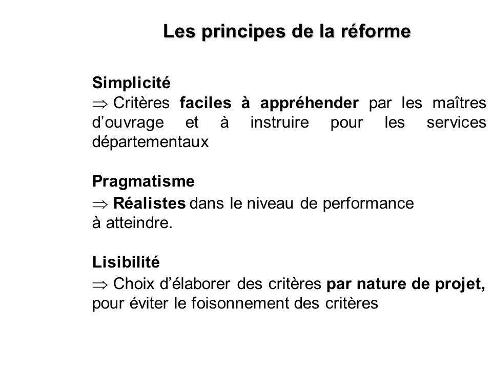 Simplicité Critères faciles à appréhender par les maîtres douvrage et à instruire pour les services départementaux Pragmatisme Réalistes dans le niveau de performance à atteindre.