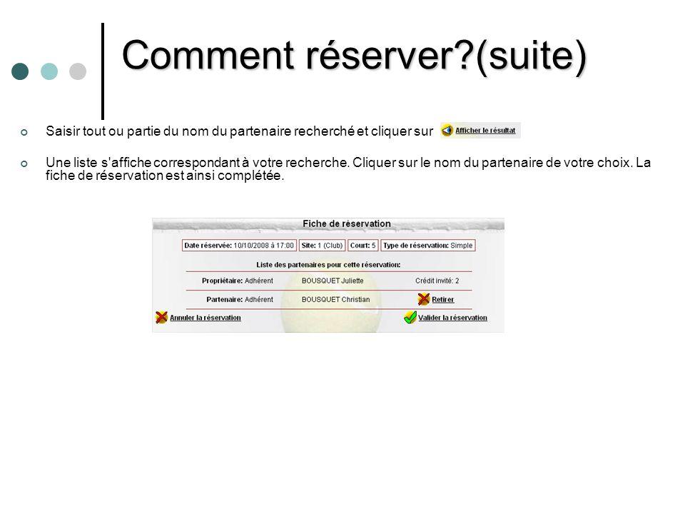 Comment modifier ou annuler une réservation.