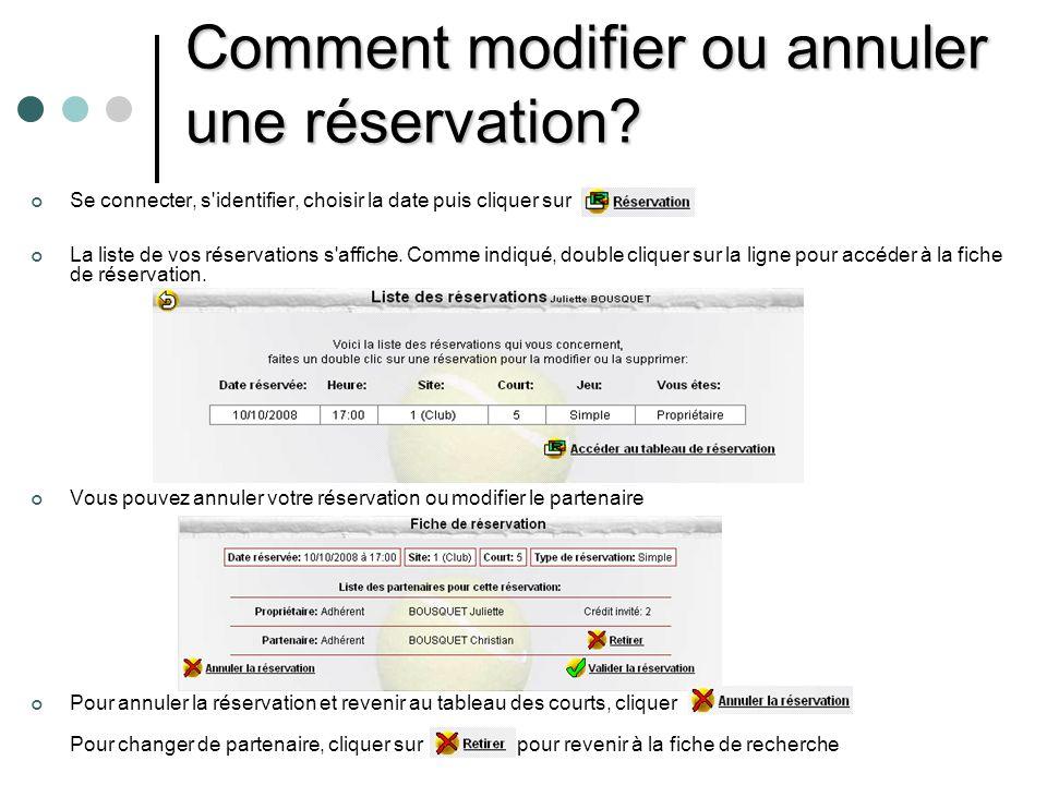 Comment modifier ou annuler une réservation?(suite) Une fois la réservation annulée, cet écran s affiche Pour faire une nouvelle réservation cliquer sur Pour quitter l écran cliquer sur
