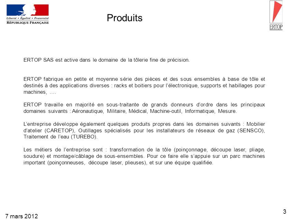 3 7 mars 2012 Produits ERTOP SAS est active dans le domaine de la tôlerie fine de précision. ERTOP fabrique en petite et moyenne série des pièces et d
