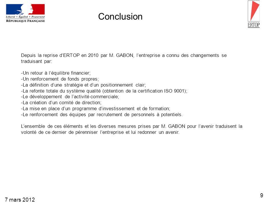 9 7 mars 2012 Conclusion Depuis la reprise dERTOP en 2010 par M. GABON, lentreprise a connu des changements se traduisant par: -Un retour à léquilibre