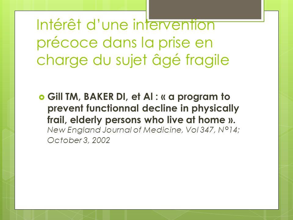 Intérêt dune intervention précoce dans la prise en charge du sujet âgé fragile Gill TM, BAKER DI, et Al : « a program to prevent functionnal decline i