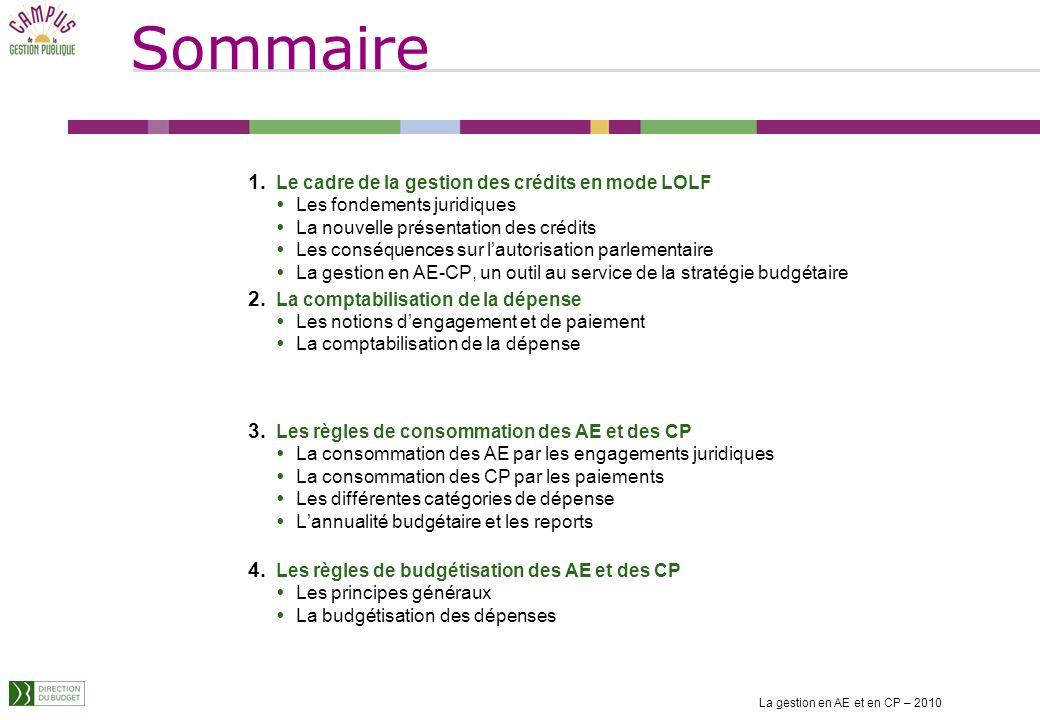 Module de formation de niveau application « La gestion en AE - CP » 2010 La gestion en AE et en CP – 2010