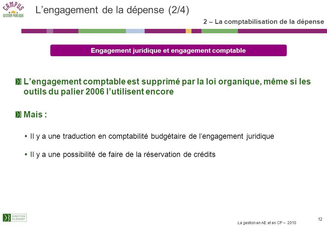 La gestion en AE et en CP – 2010 11 Lengagement de la dépense (1/4) 2 – La comptabilisation de la dépense Lengagement juridique est défini par larticl