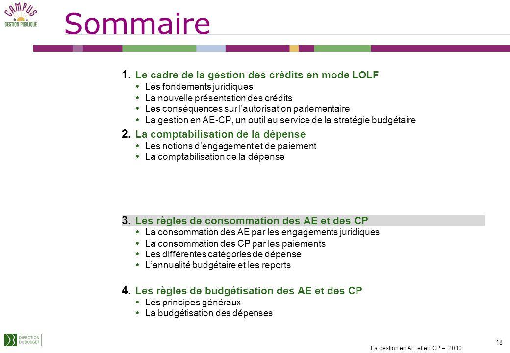 La gestion en AE et en CP – 2010 17 Les restes à payer correspondent à la différence entre le montant engagé et le montant payé. Les charges à payer c