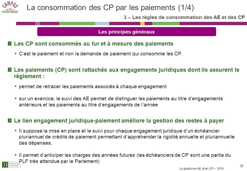 La gestion en AE et en CP – 2010 22 Les CP sont consommés au fur et à mesure des paiements Cest le paiement et non la demande de paiement qui consomme les CP.