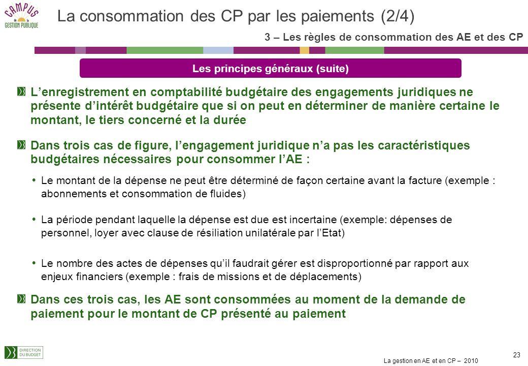La gestion en AE et en CP – 2010 22 Les CP sont consommés au fur et à mesure des paiements Cest le paiement et non la demande de paiement qui consomme