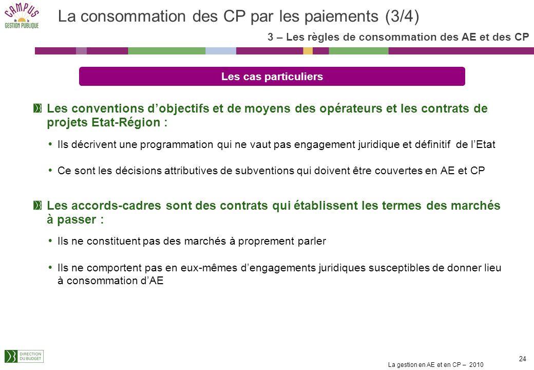 La gestion en AE et en CP – 2010 23 Lenregistrement en comptabilité budgétaire des engagements juridiques ne présente dintérêt budgétaire que si on pe