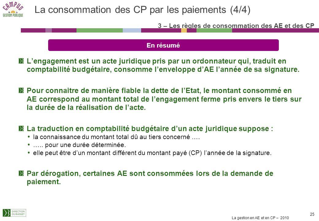 La gestion en AE et en CP – 2010 24 Les conventions dobjectifs et de moyens des opérateurs et les contrats de projets Etat-Région : Ils décrivent une
