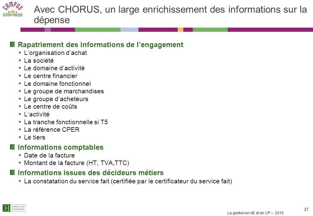La gestion en AE et en CP – 2010 26 Avec CHORUS, un large enrichissement des informations sur la dépense Informations budgétaires et comptables La soc