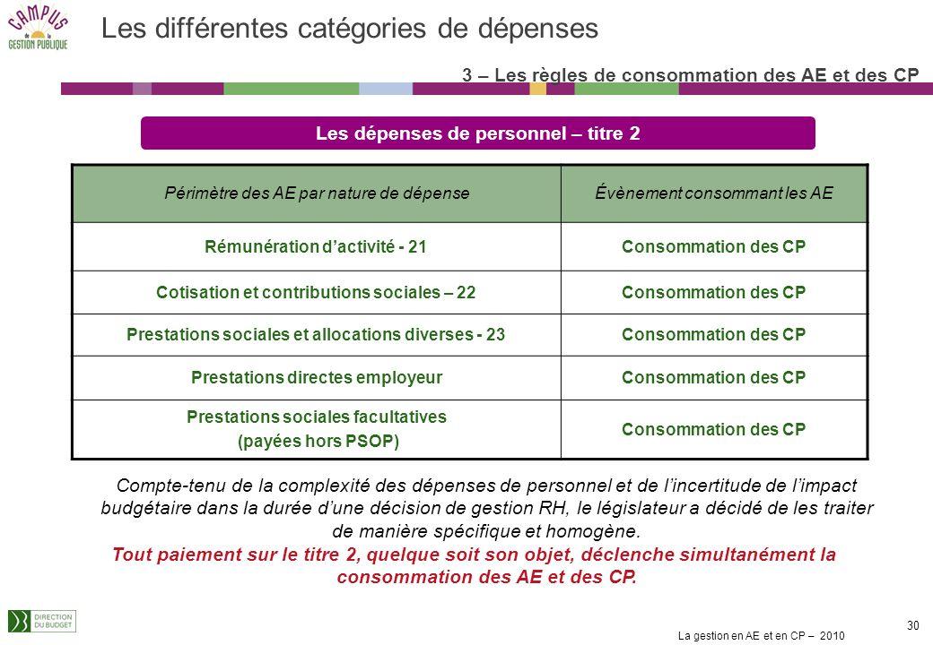 La gestion en AE et en CP – 2010 29 Un échéancier de paiement est obligatoirement attaché à chaque engagement enregistré même si la prestation donne l