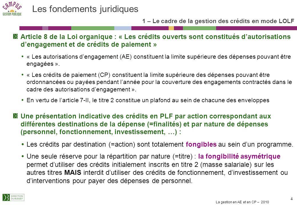 La gestion en AE et en CP – 2010 4 Les fondements juridiques Article 8 de la Loi organique : « Les crédits ouverts sont constitués dautorisations dengagement et de crédits de paiement » « Les autorisations dengagement (AE) constituent la limite supérieure des dépenses pouvant être engagées ».