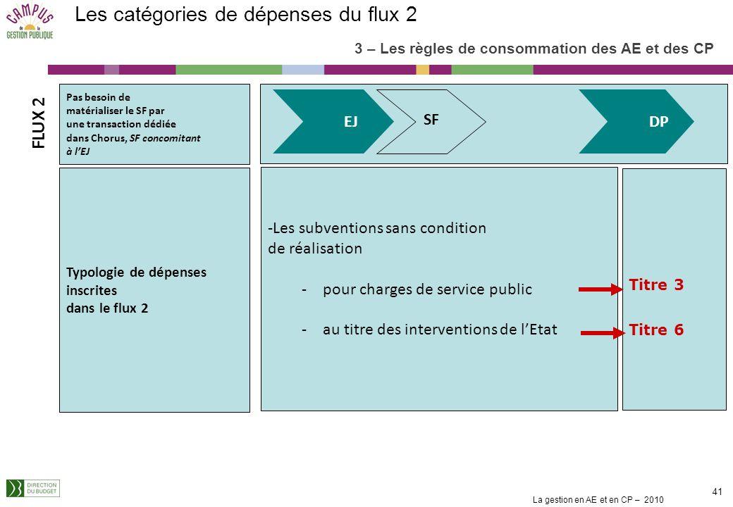 La gestion en AE et en CP – 2010 40 Besoin de matérialiser par une transaction dédiée dans Chorus Typologie de dépenses inscrites dans le flux 1 -Les