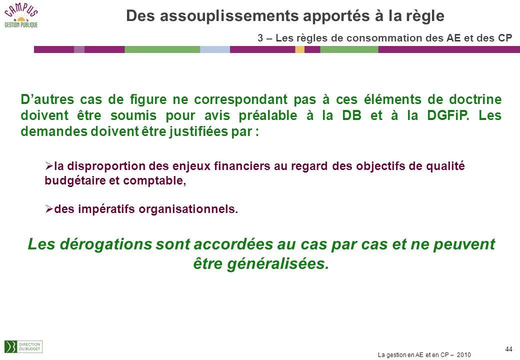 La gestion en AE et en CP – 2010 44 Des assouplissements apportés à la règle Dautres cas de figure ne correspondant pas à ces éléments de doctrine doivent être soumis pour avis préalable à la DB et à la DGFiP.