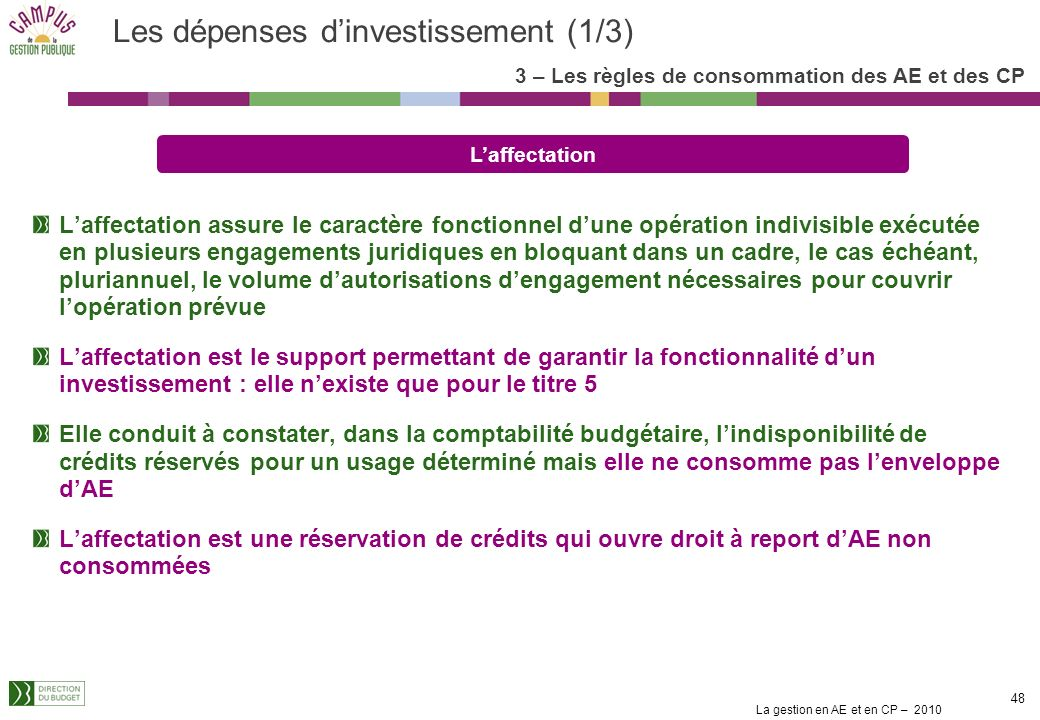 La gestion en AE et en CP – 2010 48 Les dépenses dinvestissement (1/3) Laffectation Laffectation assure le caractère fonctionnel dune opération indivisible exécutée en plusieurs engagements juridiques en bloquant dans un cadre, le cas échéant, pluriannuel, le volume dautorisations dengagement nécessaires pour couvrir lopération prévue Laffectation est le support permettant de garantir la fonctionnalité dun investissement : elle nexiste que pour le titre 5 Elle conduit à constater, dans la comptabilité budgétaire, lindisponibilité de crédits réservés pour un usage déterminé mais elle ne consomme pas lenveloppe dAE Laffectation est une réservation de crédits qui ouvre droit à report dAE non consommées 3 – Les règles de consommation des AE et des CP