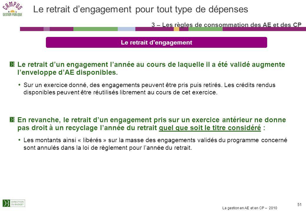 La gestion en AE et en CP – 2010 51 Le retrait dengagement pour tout type de dépenses Le retrait dengagement Le retrait dun engagement lannée au cours de laquelle il a été validé augmente lenveloppe dAE disponibles.